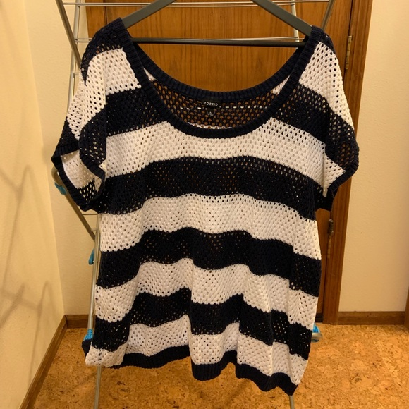 torrid Tops - Navy and white striped loose knit sweater top